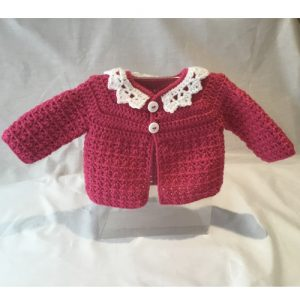 Fuchsia Crocheted Cardigan – 3-6 Months