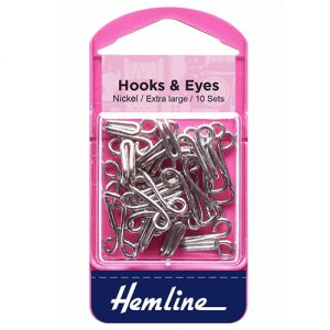 Hemline Hook and Eyes – Nickel – Size 9