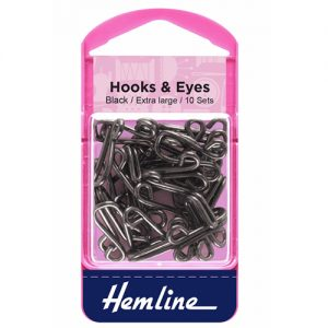 Hemline Hook and Eyes – Black – Size 9