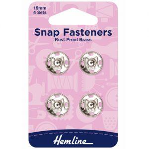 Hemline Sew-On Snap Fasteners – Nickel – 15mm – Pack of 4