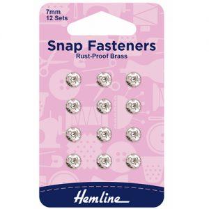 Hemline Sew-On Snap Fasteners – Nickel – 7mm – Pack of 12