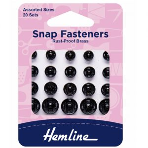 Hemline Assorted Sew-On Snap Fasteners – Black – Pack of 20