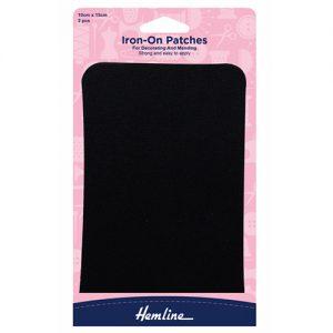 Hemline Iron-On Cotton Twill Patch – Black – 10 x 15cm