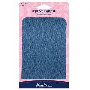 Hemline Iron-On Cotton Twill Patch – Light Denim – 10 x 15cm