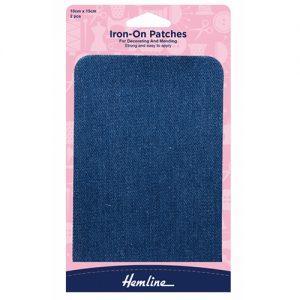 Hemline Iron-On Cotton Twill Patch – Mid Denim – 10 x 15cm
