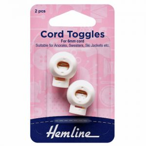 Hemline White Cord Toggles – Pack of 2