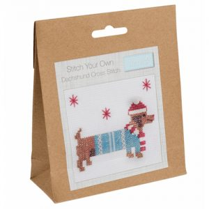 Mini Counted Cross Stitch Kit – Festive Daschund