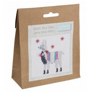 Mini Counted Cross Stitch Kit – Fleece Navidad Llama