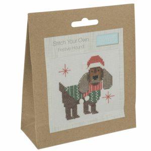 Mini Counted Cross Stitch Kit – Festive Hound