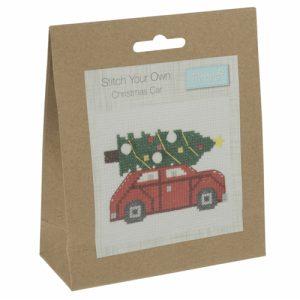 Mini Counted Cross Stitch Kit – Christmas Tree Car